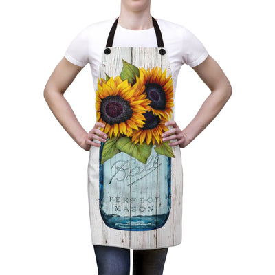 Mason Jar Sunflower Apron | The Chocolate Chicken | Modern Farmhouse Home Decor