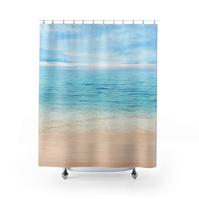 Sandy Beach Designer Shower Curtain | The Chocolate Chicken | Modern Farmhouse Home Decor