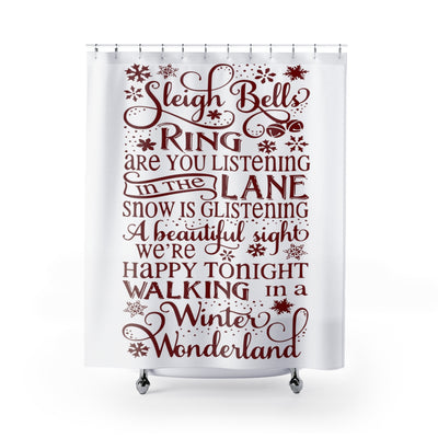 Winter Wonderland Christmas Shower Curtain | The Chocolate Chicken | Modern Farmhouse Home Decor