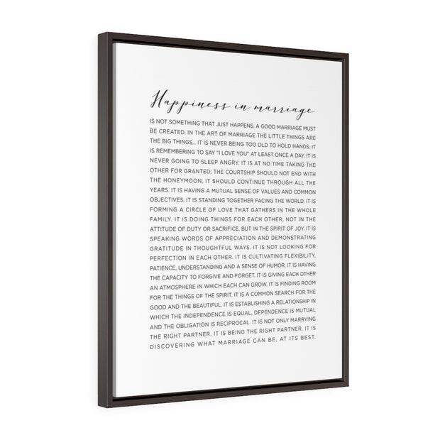 Happiness is Marriage Canvas Print | The Chocolate Chicken | Modern Farmhouse Home Decor