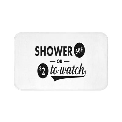 Shower or Watch Funny Non Slip Bath Mat | The Chocolate Chicken | Modern Farmhouse Home Decor
