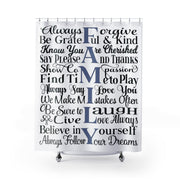 Family Rules Shower Curtain | The Chocolate Chicken | Modern Farmhouse Home Decor