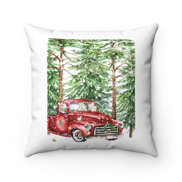Watercolor Red Truck Christmas Pillow | The Chocolate Chicken | Modern Farmhouse Home Decor