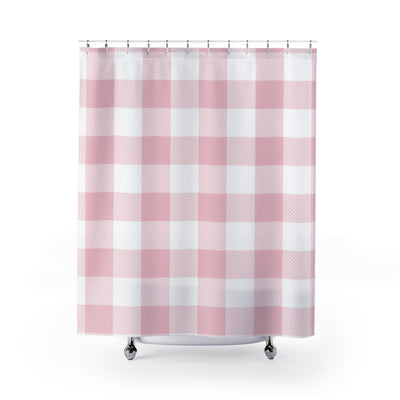 Pink Plaid Shower Curtain | The Chocolate Chicken | Modern Farmhouse Home Decor