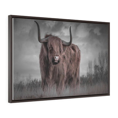 Highland Cow Canvas, Brown and Black Canvas Print | The Chocolate Chicken | Modern Farmhouse Home Decor