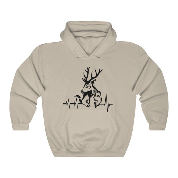 Hunting Heartbeat Unisex Heavy Blend™ Hooded Sweatshirt | The Chocolate Chicken | Modern Farmhouse Home Decor
