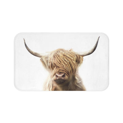 Highland Cow Bath Mat, Brown and White Bath Mats | The Chocolate Chicken | Modern Farmhouse Home Decor