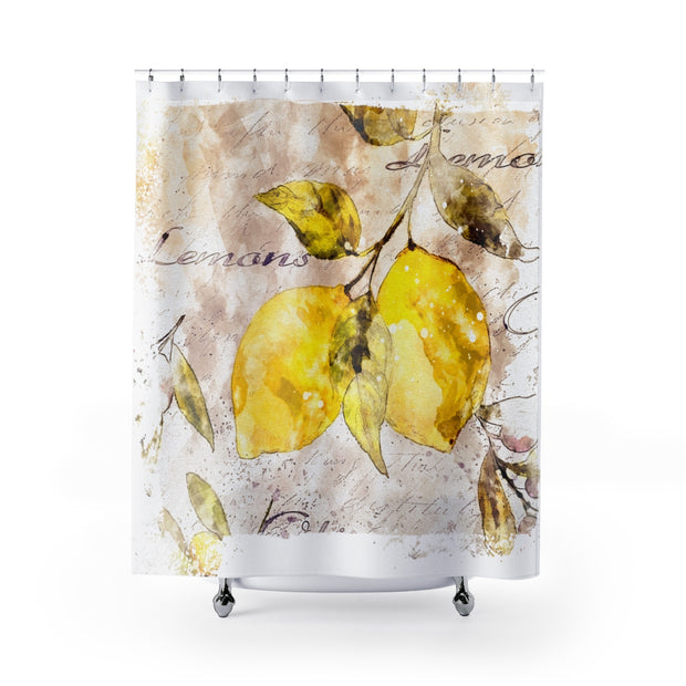 Lemon Designer Shower Curtain | The Chocolate Chicken | Modern Farmhouse Home Decor