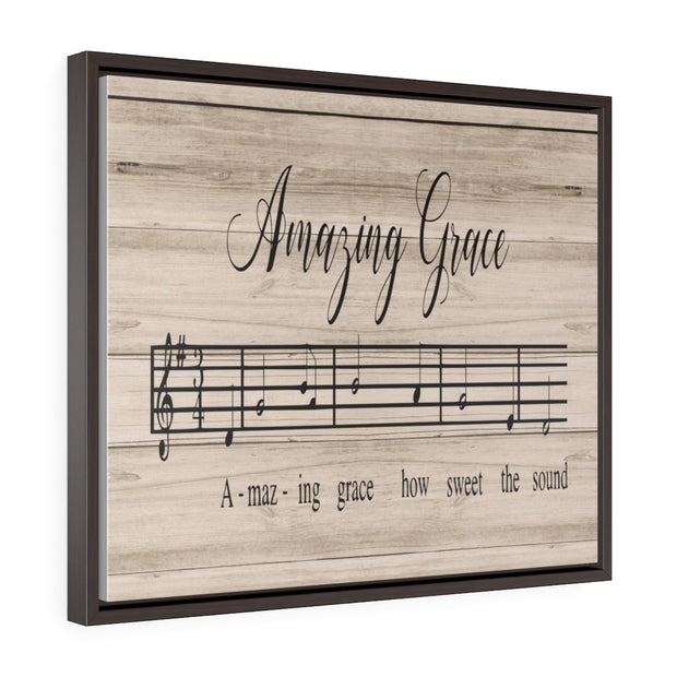Amazing Grace Song Lyric Canvas Brown | The Chocolate Chicken | Modern Farmhouse Home Decor