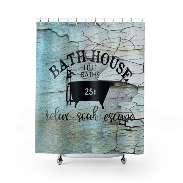 Blue Bath House Shower Curtain | The Chocolate Chicken | Modern Farmhouse Home Decor
