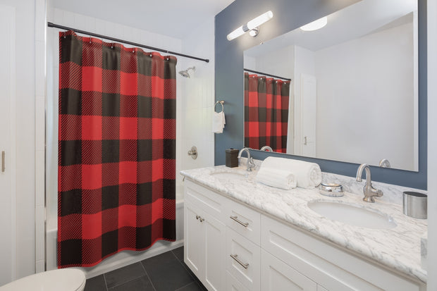 Red and Black Lumberjack Shower Curtains | The Chocolate Chicken | Modern Farmhouse Home Decor