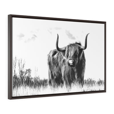 Highland Cow Canvas Print, Black and White Canvas Art | The Chocolate Chicken | Modern Farmhouse Home Decor