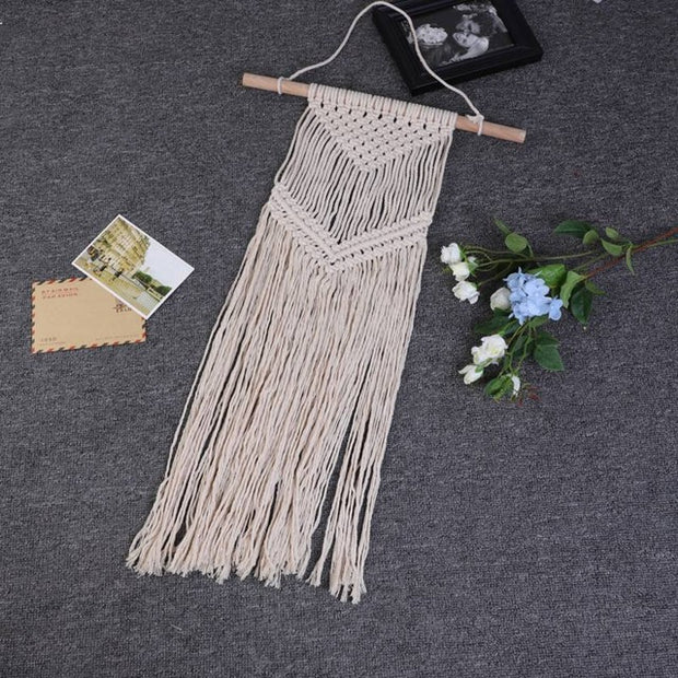 Bohemian Macrame Hand-woven Tassel Tapestry | The Chocolate Chicken | Modern Farmhouse Home Decor