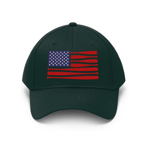 Patriotic Baseball Flag Unisex Twill Hat | The Chocolate Chicken | Modern Farmhouse Home Decor