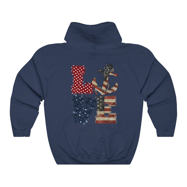 USA Navy Love Unisex Heavy Blend™ Hooded Sweatshirt | The Chocolate Chicken | Modern Farmhouse Home Decor