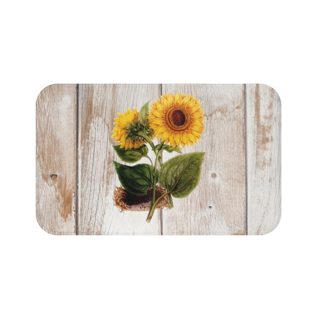 Sunflower Wood Bath Mat | The Chocolate Chicken | Modern Farmhouse Home Decor