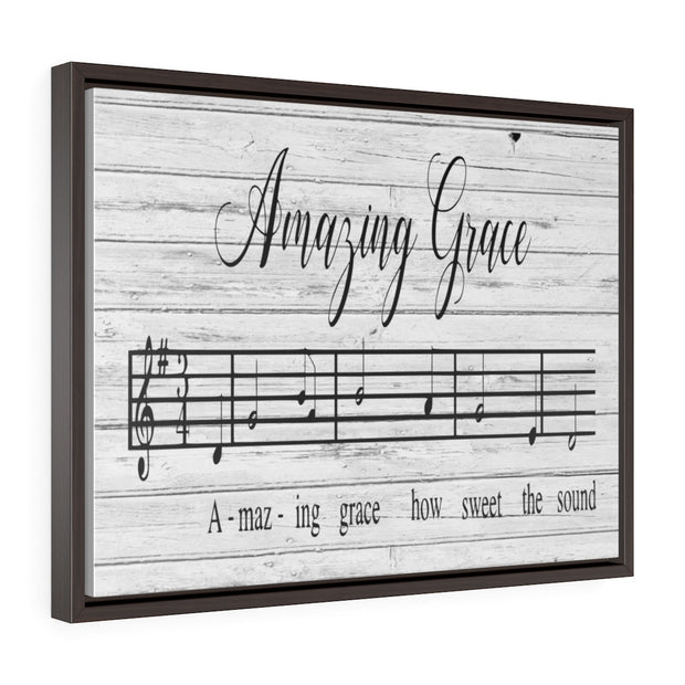 Amazing Grace Song Lyric Canvas Gray | The Chocolate Chicken | Modern Farmhouse Home Decor