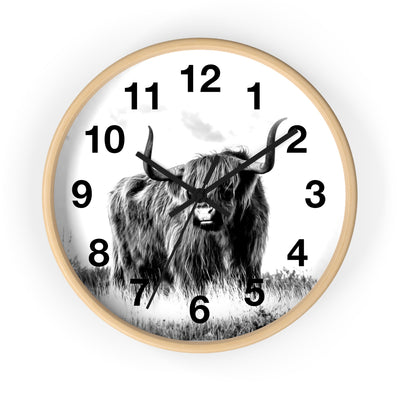 Black and White Highland Cow Clock | The Chocolate Chicken | Modern Farmhouse Home Decor