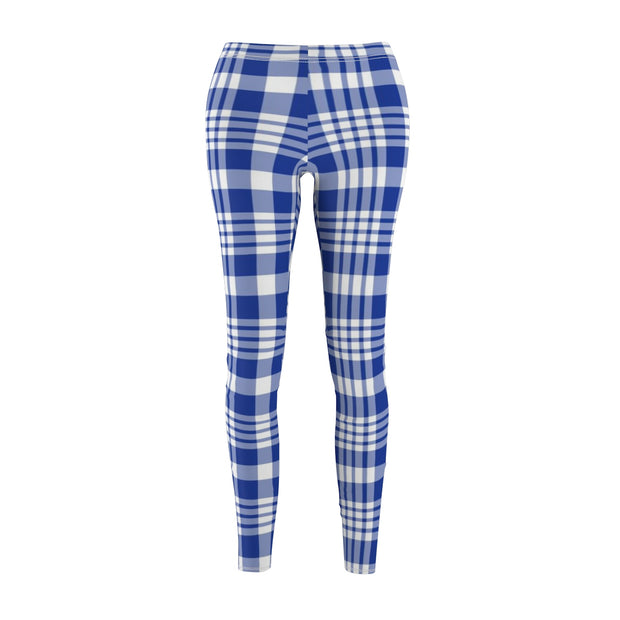 Blue Plaid Women's Casual Leggings | The Chocolate Chicken | Modern Farmhouse Home Decor