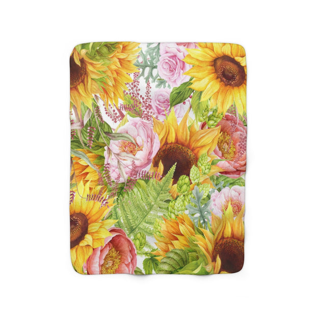Sunflowers Sherpa Fleece Blanket | The Chocolate Chicken | Modern Farmhouse Home Decor