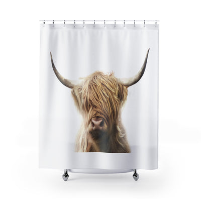 Highland Cow Shower Curtain, Brown and Black Bath Liner | The Chocolate Chicken | Modern Farmhouse Home Decor