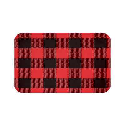 Black and Red Lumberjack Bath Mat | The Chocolate Chicken | Modern Farmhouse Home Decor