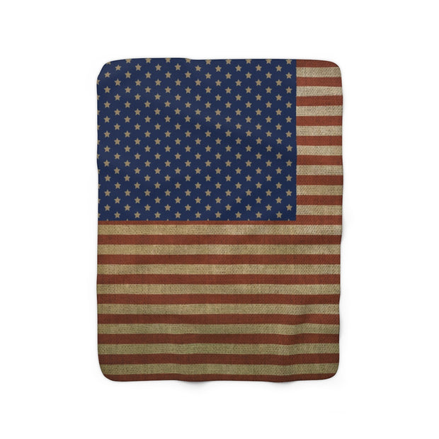 Rustic American Flag Sherpa Fleece Blanket | The Chocolate Chicken | Modern Farmhouse Home Decor