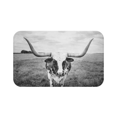 Longhorn Cow Bath Mat, Black and White Bath Mats | The Chocolate Chicken | Modern Farmhouse Home Decor