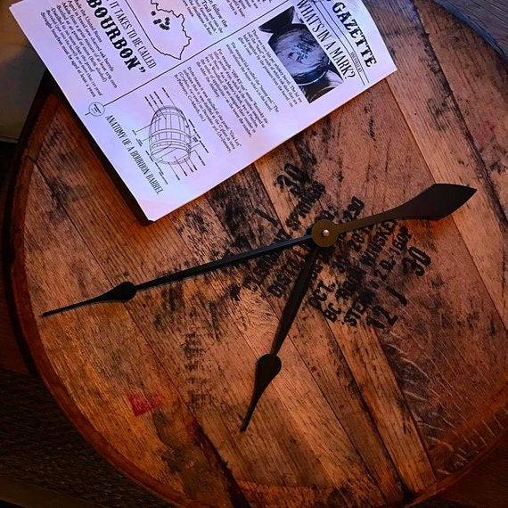 Reclaimed Bourbon Whiskey Barrel Clock - Comes | The Chocolate Chicken | Modern Farmhouse Home Decor