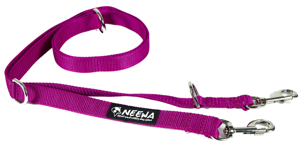 Purple adjustable Dog Leash for dog activities.