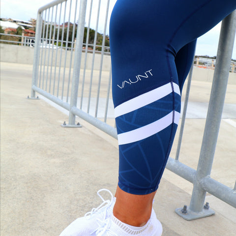 VAUNT x DEDIKATED NAVY GEO 7/8 LEGGINGS