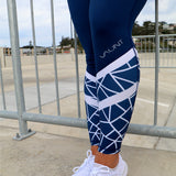 VAUNT x DEDIKATED NAVY GEO F/L LEGGINGS