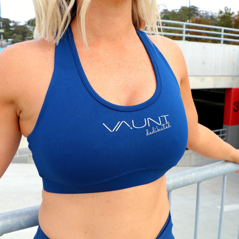 VAUNT x DEDIKATED NAVY GEO CROP TOP