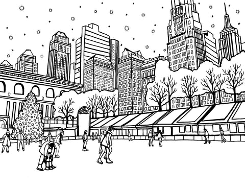 Skating at Rockefeller Centre - Free Coloring Page