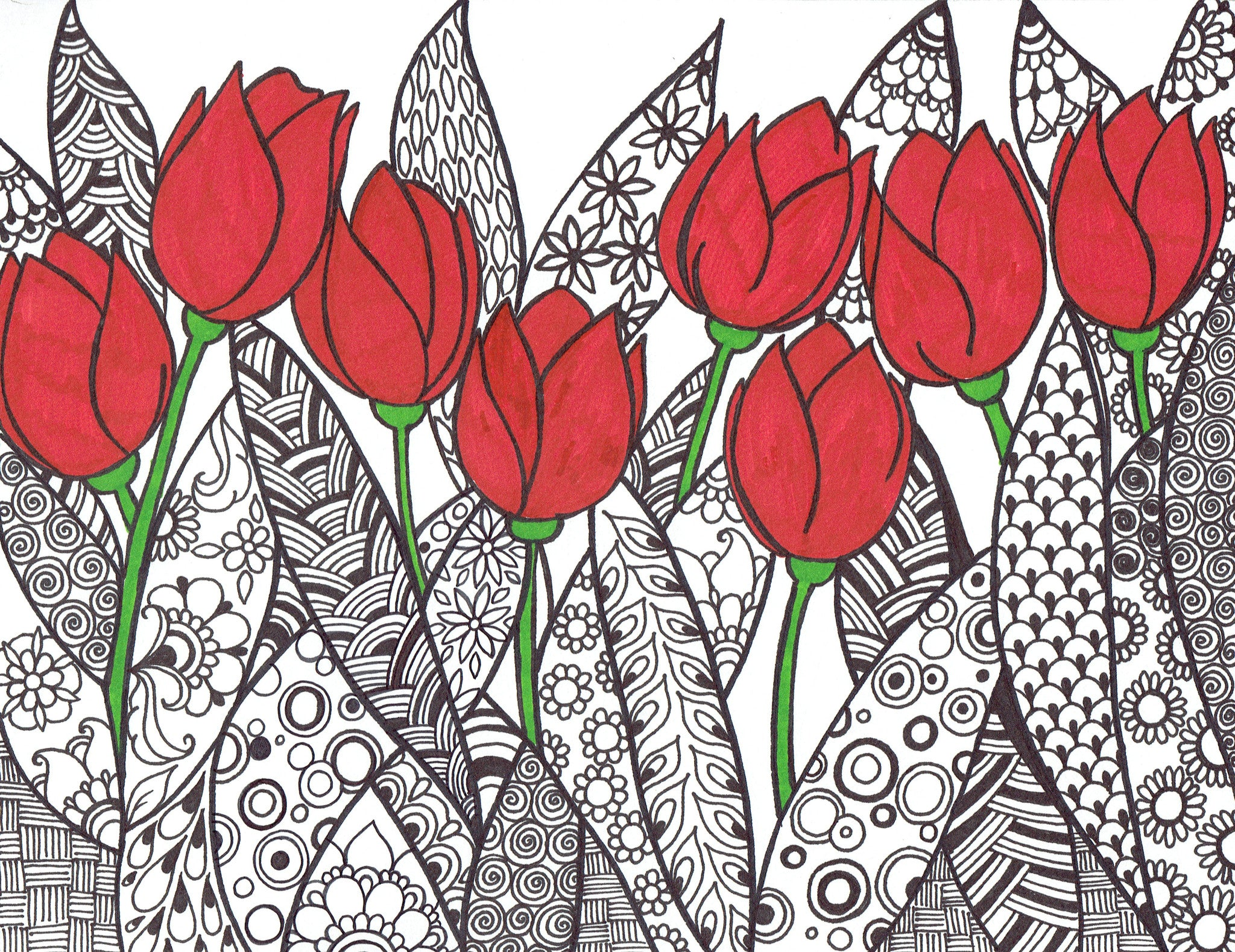 Artistic Red Tulips FREE Coloring Page - You-Color