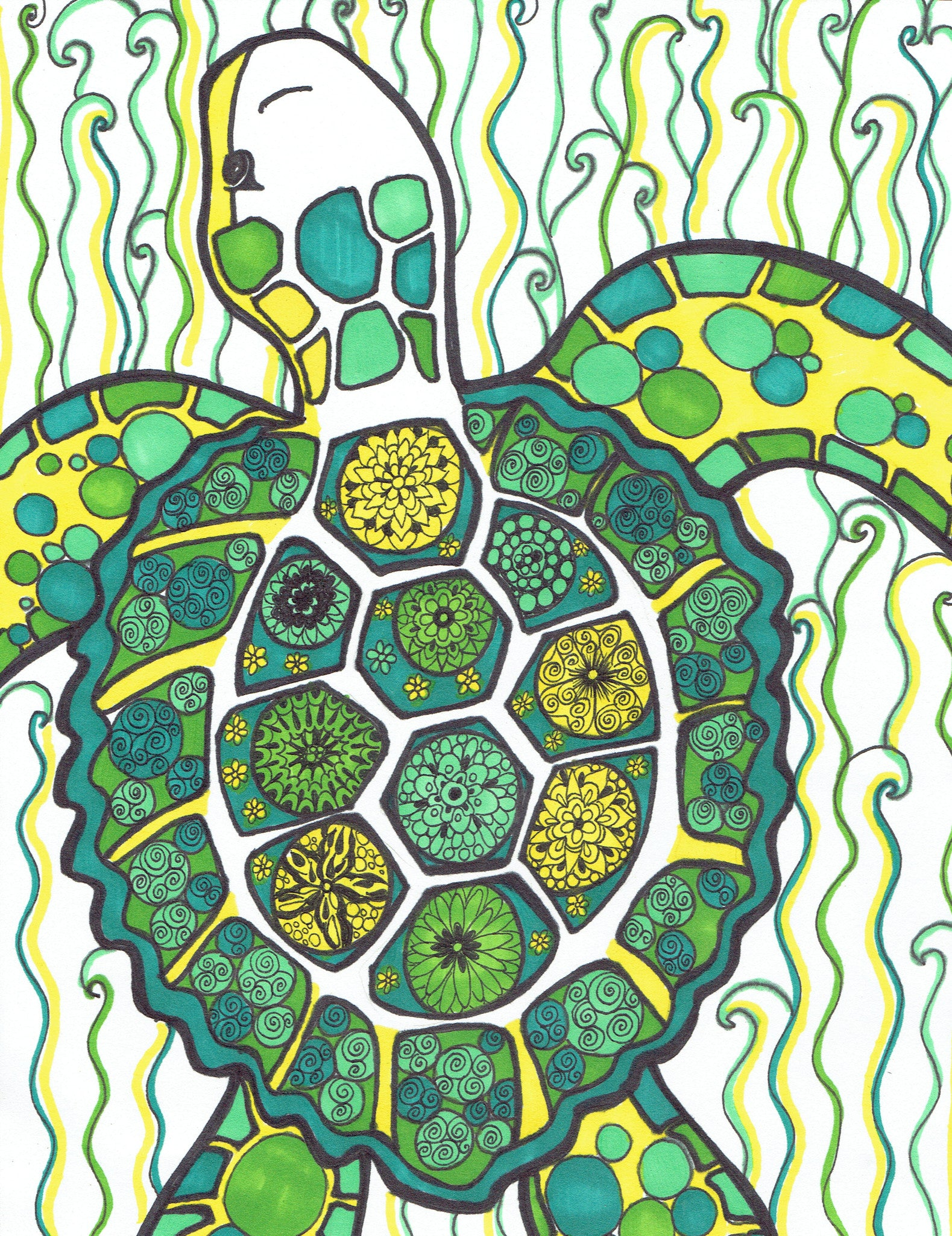 Colored Green Turtle - You-Color
