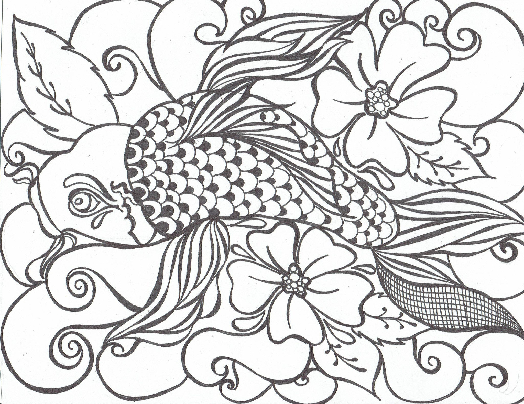 Koi Fish with Flowers - You-Color