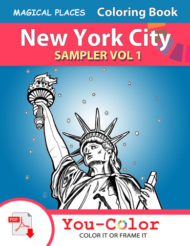 "New York City Scenes Coloring Book SAMPLER VOL 1 (Use ""NYCFREE1"" on Checkout to get this sampler for FREE) - You-Color"