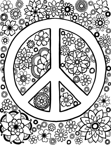 Peace Sign with Outside Mandalas - You-Color