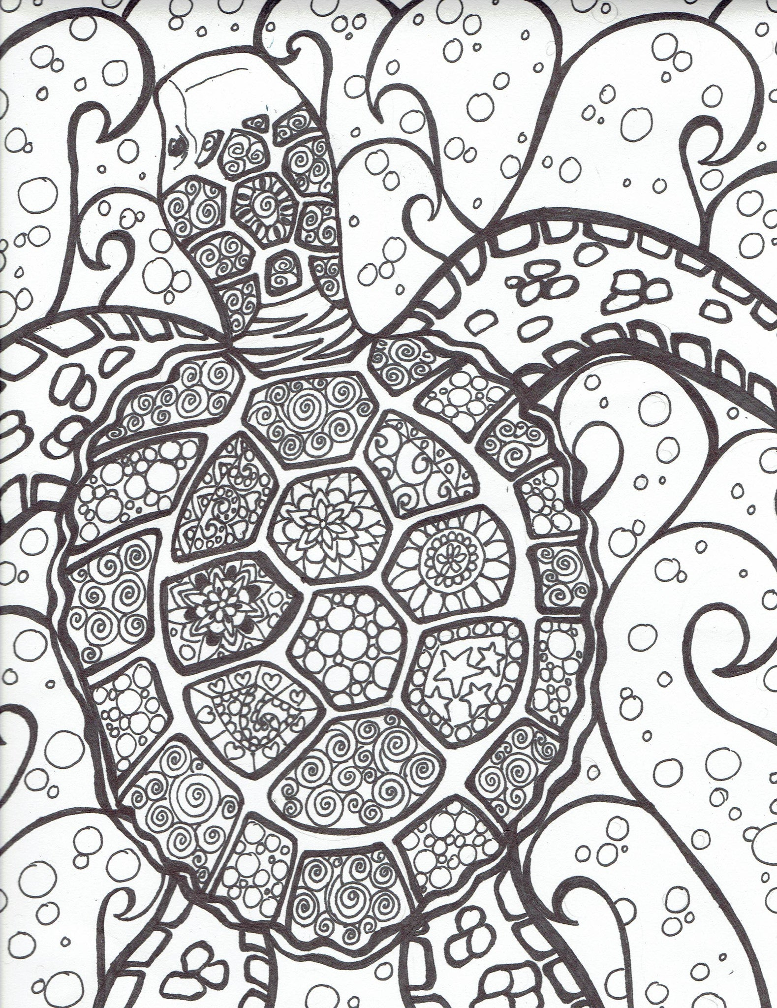Sea turtle with bubles - You-Color