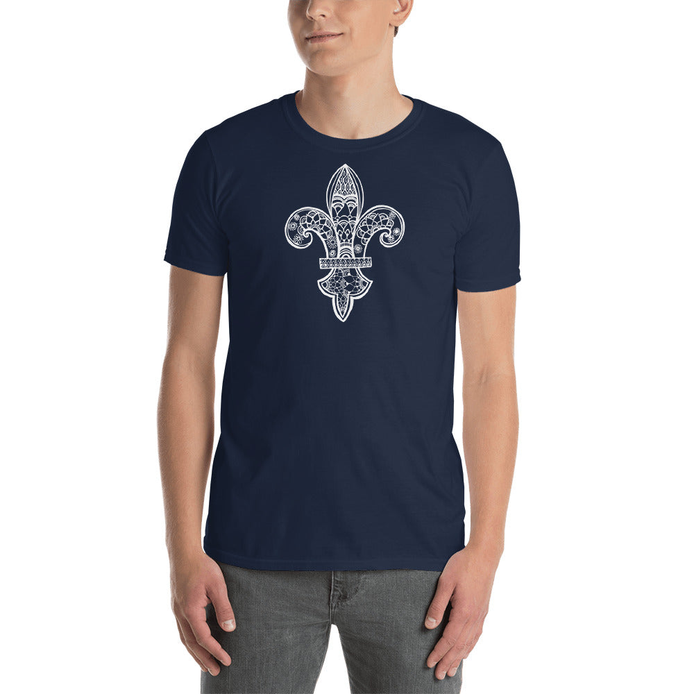 Fleur de Lys with YOU_COLOR.COM in back Short-Sleeve Unisex T-Shirt - You-Color