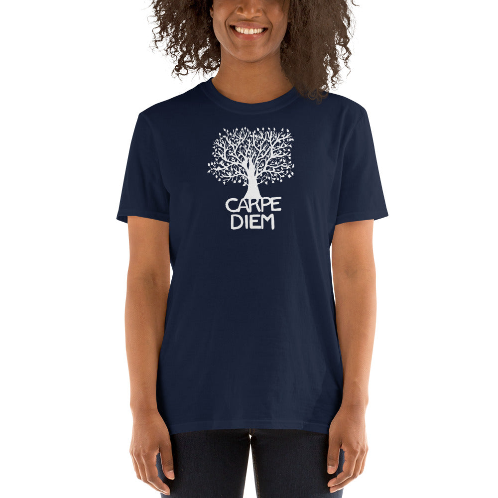Carpe Diem Tree White on colored Short-Sleeve Unisex T-Shirt - You-Color
