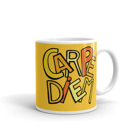 Mandalas Carpe Diem Yellow Coffee Mugs - You-Color