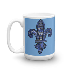 Mandalas Coffee Mug - Blue Fleur de Lys - You-Color