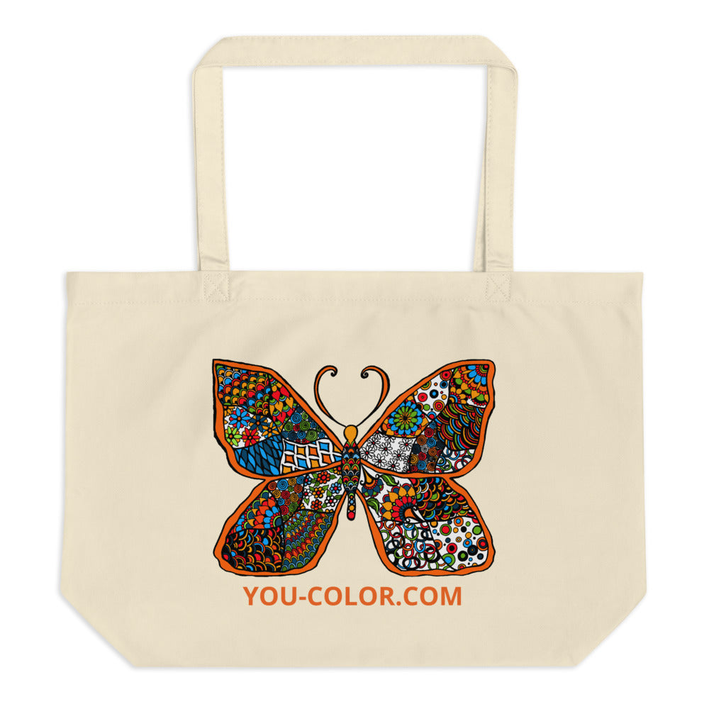 Butterfly with YOU-COLOR Large organic tote bag - You-Color