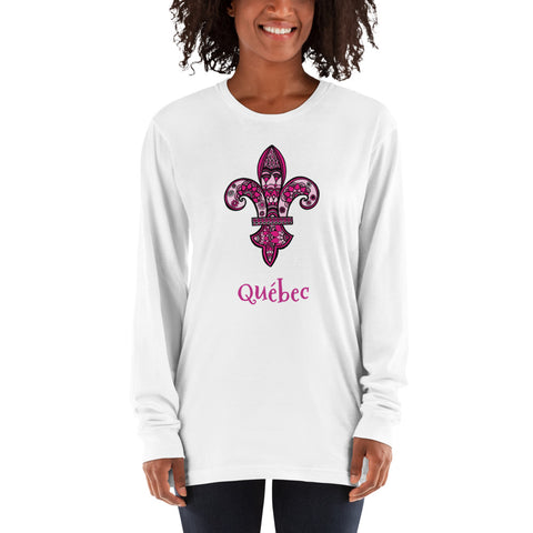 Quebec Pink Fleur de Lys Long sleeve t-shirt - You-Color
