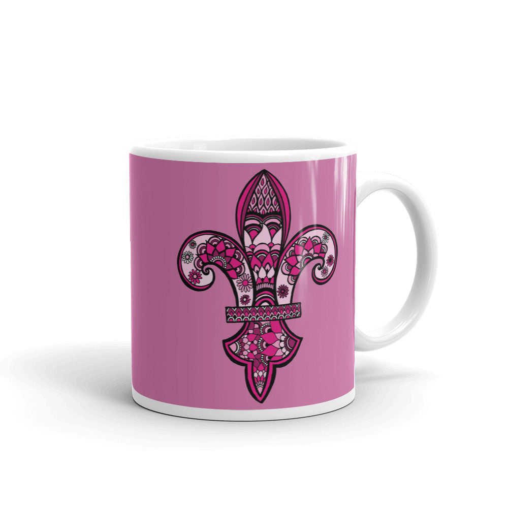Mandalas Coffee Mug - Pink Fleur de Lys - You-Color