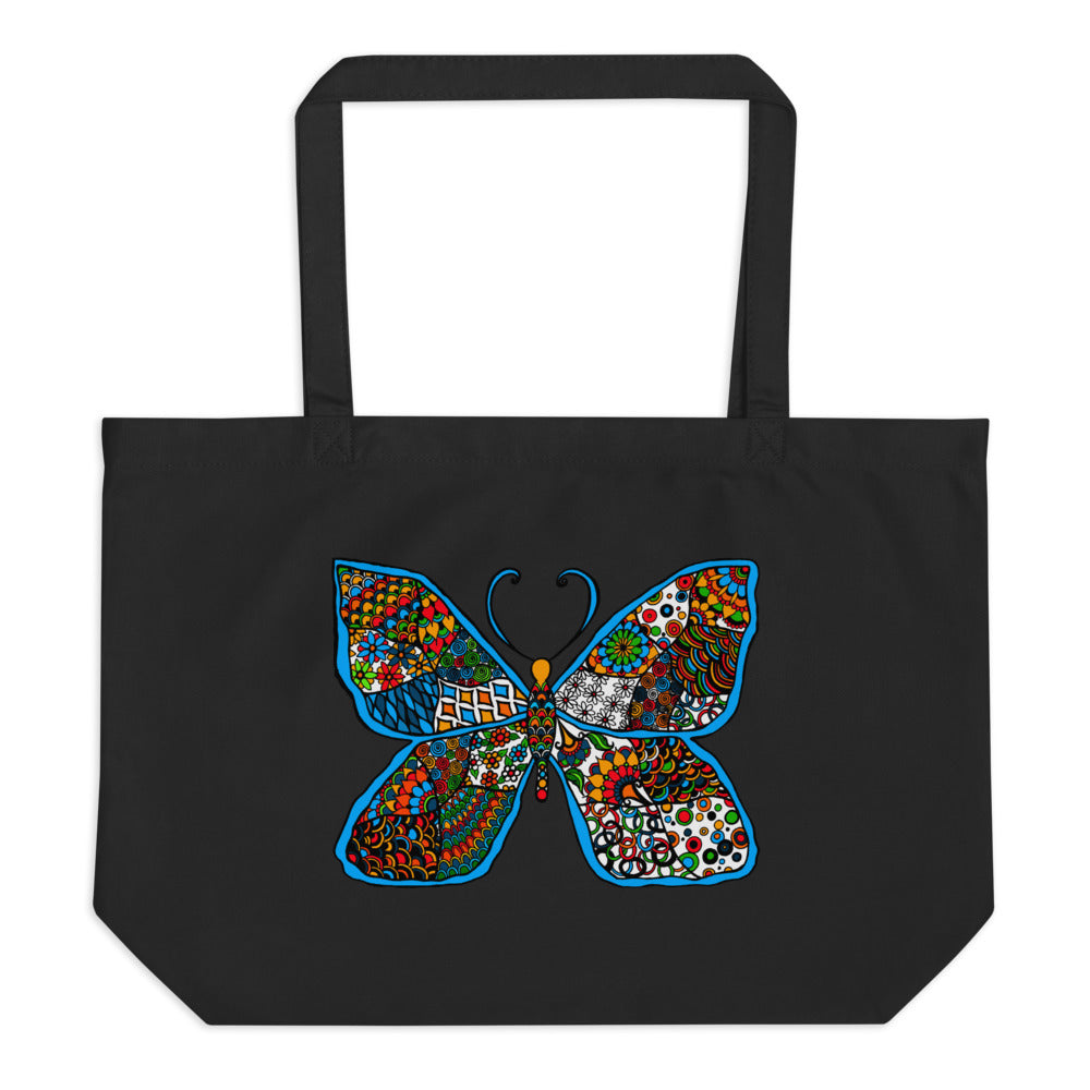 Colorful Butterfly Large organic tote bag - You-Color