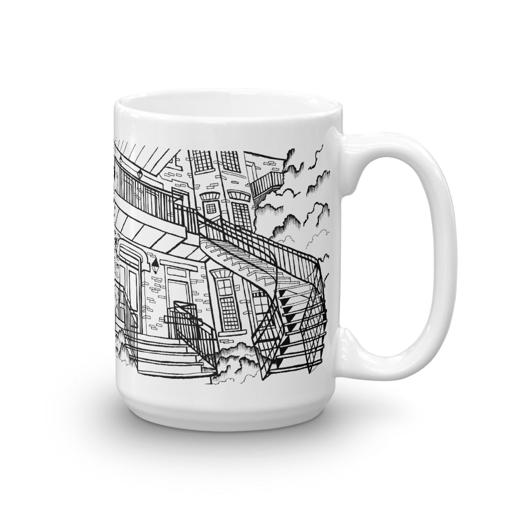 Montreal Coffee Mug - Typical Stairs of Montreal Housing - You-Color