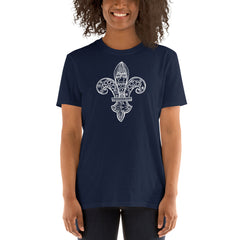 Fleur de Lys white on colored Short-Sleeve Unisex T-Shirt - You-Color